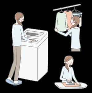 洗濯 室内 物干しスペース 洗濯機 アイロンがけ